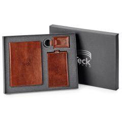 brown travel gift set in open gift box with lid half hidden behind it