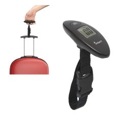 A black travel luggage scale in front of an image of a top half of a red suitcase showing the scale in use