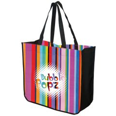full colour large stripey tote with white logo