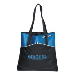 royal blue and black polyester tote with blue logo