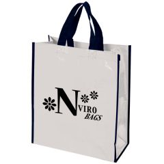 white laminated woven tote with black logo