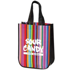 stripey mini tote with black sides and handles and white logo