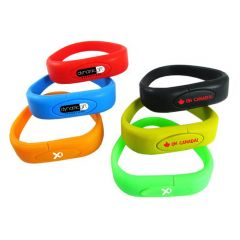 six different coloured USB silicone wristbands branded with logos