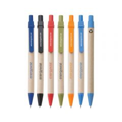 seven different coloured screen printed Eco pens with one showing the back view