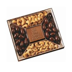 A rectangle shaped chocolate confections gift box with two types of confectionery surrounding a custom molded milk chocolate bar in the center