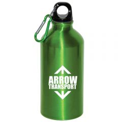 A green 500mL aluminum water bottle with a white logo and a green and silver carabiner