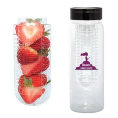 500mL glass fruit infusion water bottle with a black lid and purple logo next to inside piece of bottle shown filled with fruit