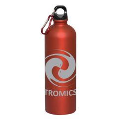 750mL red matte finish bottle with black lid red and silver carabiner and a grey logo