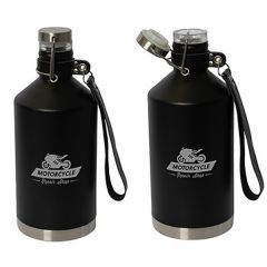 two images of black 1.89L growlers with one showing lid open and both with grey logo