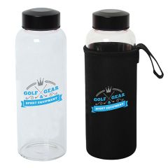 two images of 800mL glass bottles with black lids one with a full colour logo and one in a black pouch with a full colour logo