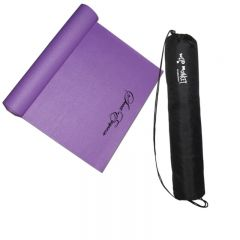 An angled view of a half unrolled purple PVC yoga mat with a black logo on it. Beside it is a black carry bag for the mat placed upright with a white logo