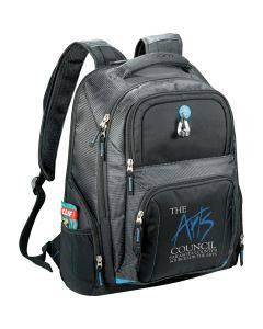 A black compu-backpack with hole for headphones and a blue and white logo