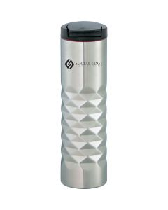 stainless steel 16oz geometric cut tumbler with a black lid and a black logo