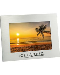 "A silver aluminum horizontal 5""x7"" photo frame with an black logo and a picture inside"