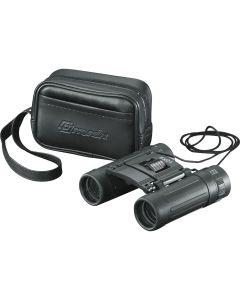 A pair of black binoculars slightly in front of their black debossed storage box