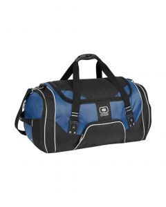 A blue and black duffle bag
