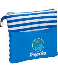 An angled view of a royal blue and white striped polyester, square bag with a royal blue lower half showing a full colour logo