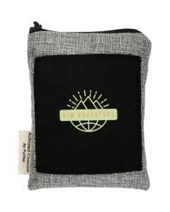 A black and grey odour absorbing travel pouch with a light green and red logo on the front