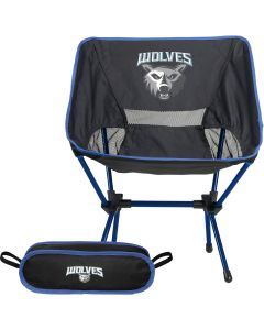 The front view of a polyester portable compact chair that is black with royal blue accents and a full colour logo on the front of the chair. Beside the chair is a storage bag with royal trim and a full colour logo