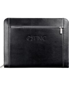 A black zippered padfolio with a debossed logo on the front