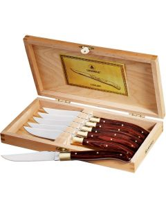 An angled view of a 6-piece steak knife set in a box with the lid open to show the steak knives stored inside