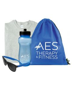 A set of shades with blue arms beside a translucent blue water bottle with a black lid and a white logo. Beside this is a blue drawstring bag with a white logo and a light grey, folded T-shirt in the background.