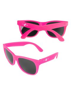 Two images of neon pink sunglasses, both with white logos on the arms. The further away pair is folded and showing the back of this item