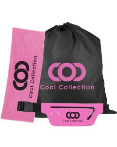 A pink cooling towel with a black logo beside a black drawstring shoe bag with a pink logo and a pink and black fanny pack with a black logo is in front of them both