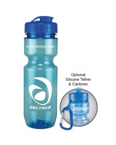 22oz aqua translucent bike bottle with white logo next to example of carabiner use