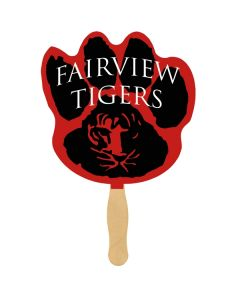 A sandwich fan with a wooden handle and a red and black paw print shaped paddle with white text on it