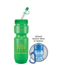 22oz green bike bottle with green straw tip lid and yellow logo next to example of how to attach a carabiner