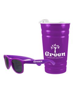 A set of purple shades with a white logo next to a 16oz fiesta cup with a white lid and logo