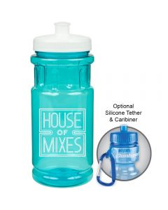 20z translucent aqua water bottle with white lid and logo and example of carabiner use beside it