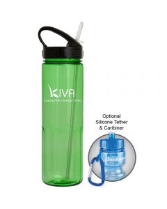 24oz translucent green water bottle with white logo and with black sports sip lid and silver coloured straw next to an example of use with carabiner clip