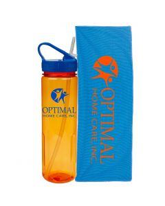 An orange 24oz drinking bottle with a blue lid and logo next to a blue cooling towel with an orange logo