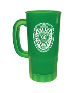 translucent green 22oz plastic beer stein with a white logo