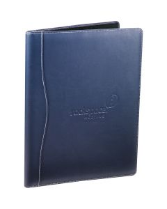 An angled view of a navy writing pad with a debossed logo on the front