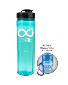 24oz translucent aqua bottle with black flip top lid and white logo with example of carabiner use beside it