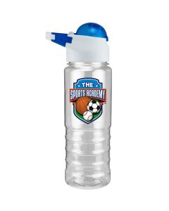 28oz clear water bottle with blue domed lid and full colour logo