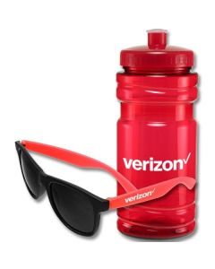 A set of shades with red arms and a white logo on the arm in front of a red 20oz water bottle with a white logo