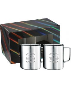 Two silver double walled stainless steel 14oz mugs with silver logos in front of a black holographic gift box