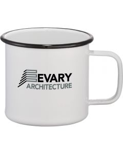 A 16oz white enamel and metal cup with a black rim and logo and a white interior