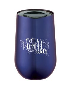 a blue metal drop shaped 14oz tumbler with a white logo