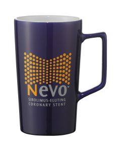 A blue ceramic 20oz mug with a white interior and a yellow and grey logo on the exterior