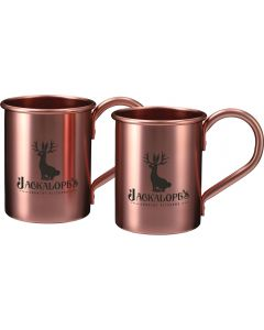 Two moscow mule gift set 14oz rose gold mugs with black logos