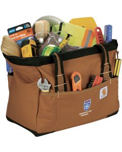 An angled view of an open brown 14 inch tool bag filled with goods with a full colour logo