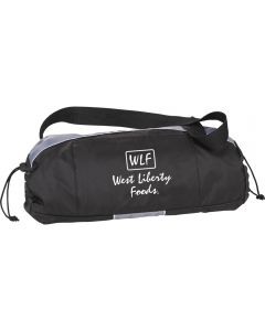 A black and grey sports sling with a carry strap and a white logo