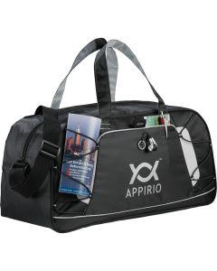 black sports duffle bag with grey logo