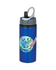 20oz blue coloured aluminum bottle with dark grey lid and full colour logo