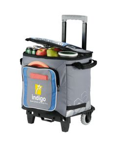 grey and black 50 can rolling cooler with full colour logo and top partially unzipped to show contents within